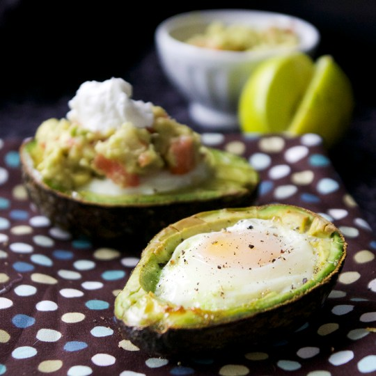 Healthy Baked Eggs in Avocado with Guacamole