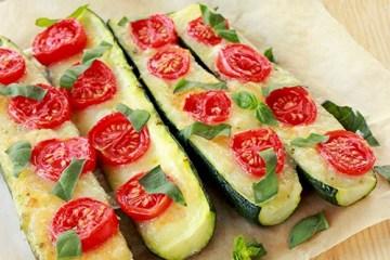 Italian Zucchini Boats Mozzarella Tomato Basil The Petite Cook easy quick Recipe