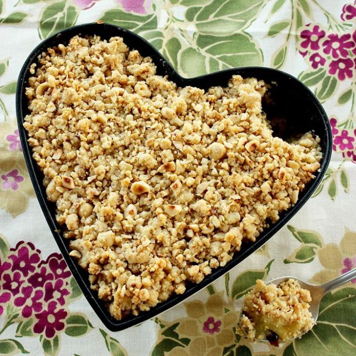 Vegan Apple Crumble, dairy free and gluten free easy dessert recipe by The Petite Cook