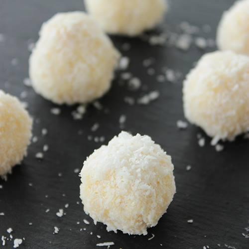 vegan, diary free coconut truffles recipe by the petite cook