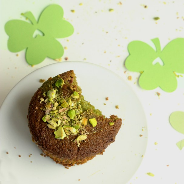 Matcha Green Tea & Pistachios Muffin - St Patrick's day recipe by The Petite Cook