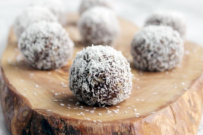 Chokladbollar, Swedish Chocolate Balls close up on wood board