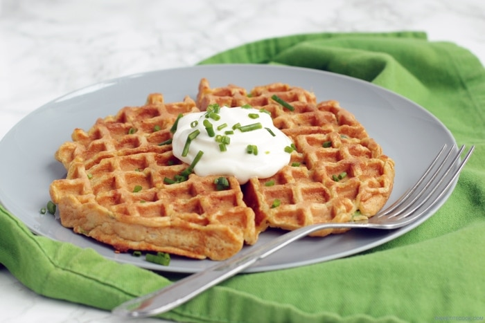 Healthy Sweet potato Waffles - Made with less than 10 ingredients and ready in just 15 mins! These tasty bites make a fantastic , balanced breakfast or a scrumptious starter!