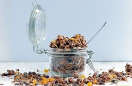 Delicious, easy, healthy, wholesome, Homemade Chocolate Granola. Vegan, gluten-free and better than store-bought, this crunchy mix of oats, healthy nuts & seeds and chocolate is the best way to start your day. Recipe from thepetitecook.com