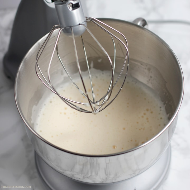 Eggs whisked until pale in a stand mixer