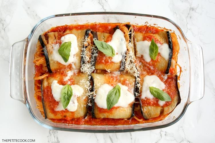Eggplant spaghetti sandwiches in baking dish