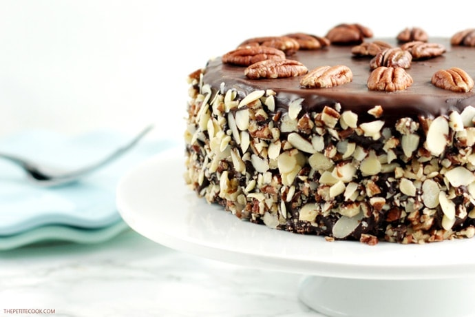 Fall in love with this Chocolate Coffee Brownie Cake - Made with simple wholesome ingredients, this epic dessert is totally gluten-free and dairy-free. Can you believe that? Recipe from thepetitecook.com