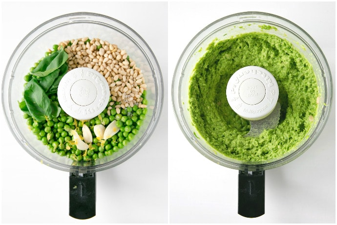 collage of two images: first image shows peas, garlic, basil leaves, lemon zest and pine nuts in the jug of a food processor, second image showing prepared pea pesto