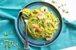 Looking for a light dairy-free pasta recipe to enjoy all spring long? Look no further! This quick Pea Pesto Pasta with Prawns is sure to become a favorite meal this season! Recipe by The Petite Cook