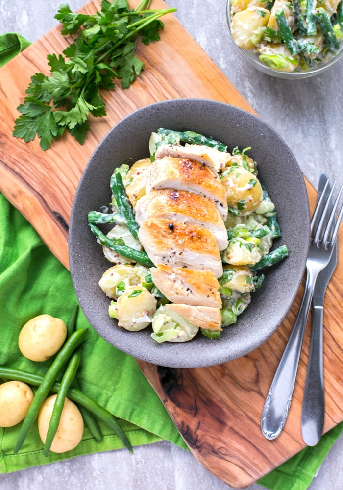 grilled chicken with green bean potato salad