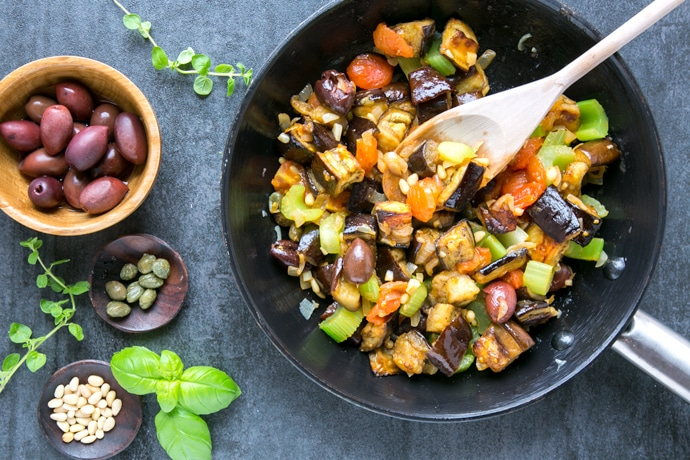 Sicilian Eggplant Caponata with olives, capers and pinenuts