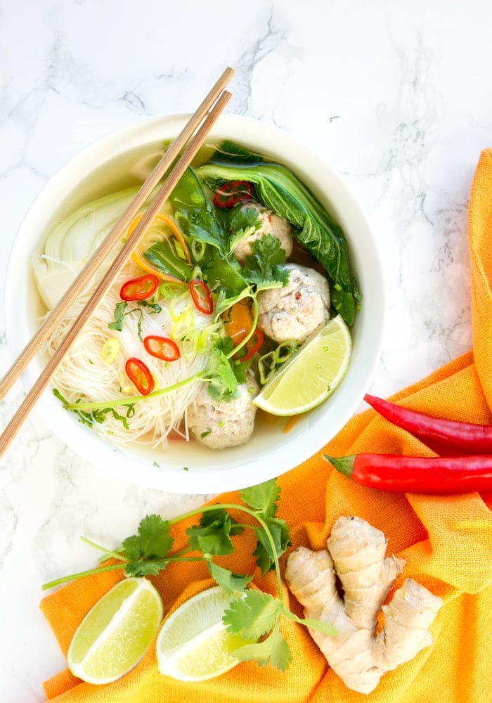 This nourishing Thai Turkey Meatball Soup is loaded with flavour and awesomely gluten-free. The perfect filling meal for cold nights! Recipe by The Petite Cook