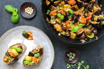 Sicilian Eggplant Caponata is one of the most traditional Italian recipes -This lighten up version with roasted aubergine makes a great veggie-loaded appetizer to share and it's naturally gluten-free, dairy-free and vegan. Recipe by The Petite Cook