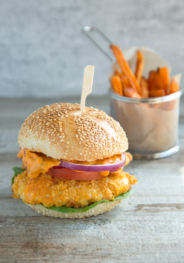 buttermilk oven fried burger with spicy mayo and sweet potato fries