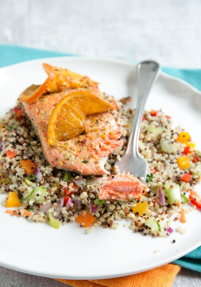 sweet and tangyOrange Honey pan-seared salmon
