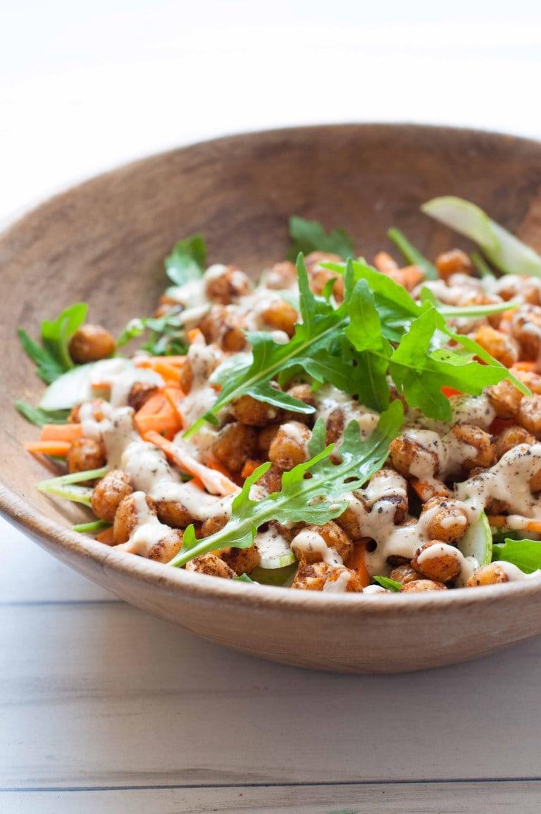 vegan chickpea salad on a plate