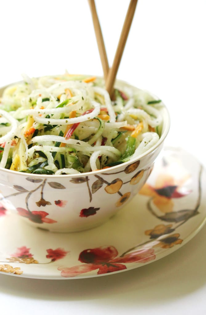 raw spiralized thai salad in a bowl