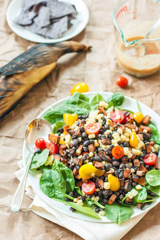 roasted swet potato bowl with beans and corn