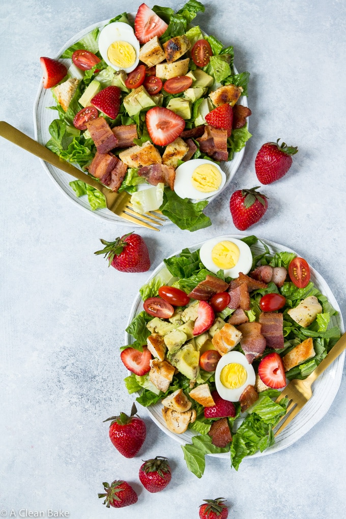 strawberry cobb salad on two plates