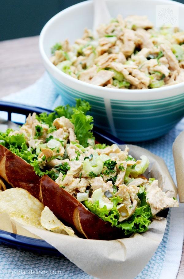 vegan chicken and pickles salad in a bun