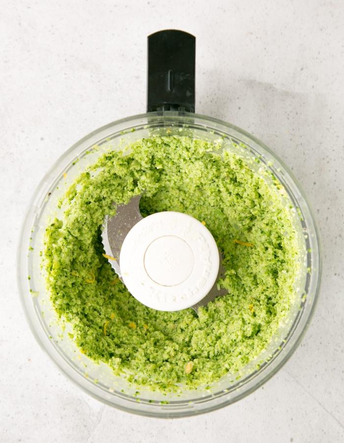 cream broccoli pesto pasta sauce inside food processor