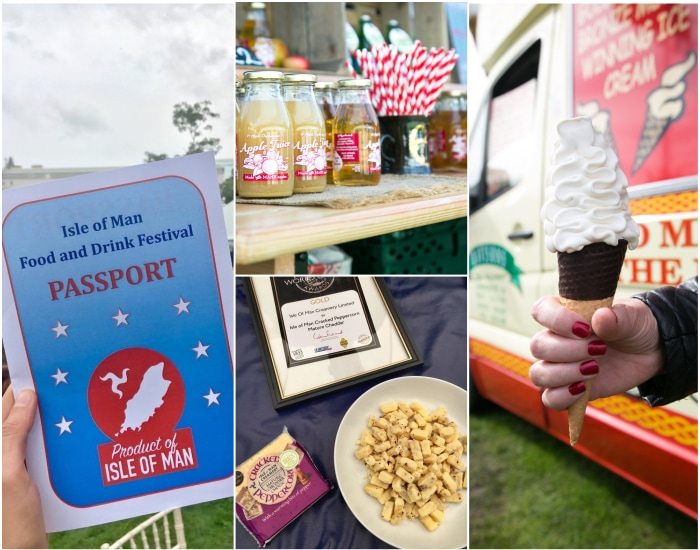 Collage pictures: first image shows hand holding Isle of Man Food and Drink Festival Passport mock up, 2nd image showing apple juice bottles on wood board, 3rd image showing chopped black peppered cheddar next to cheddar block and award certificate, 4th image shows hand holding Manx vanilla ice cream cone with ice cream van in the background.