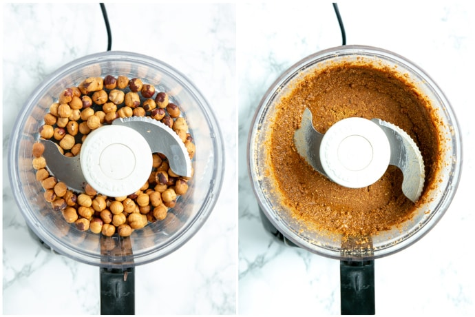 Recipe process shot 2, collage of 2 images: hazelnuts in food processor next to hazelnut paste in food processor