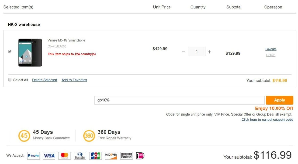 Vernee M5 coupon price