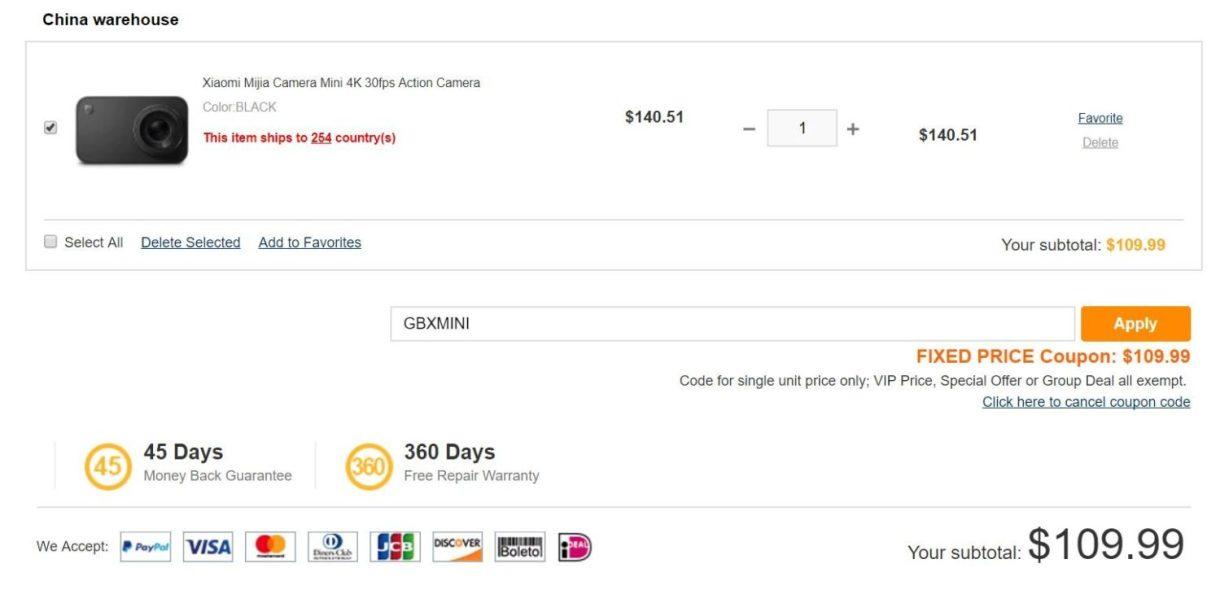 Xiaomi Mijia Camera Mini 4K featured price