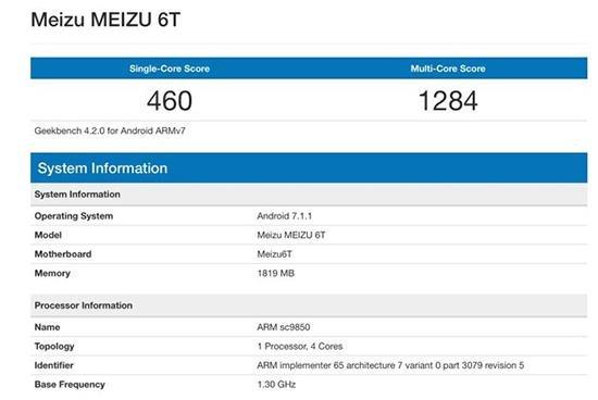 Meizu M6T Geekbench score