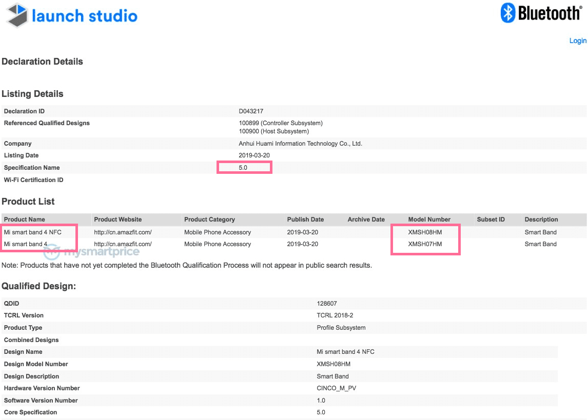 Xiaomi Mi Band 4 Certification