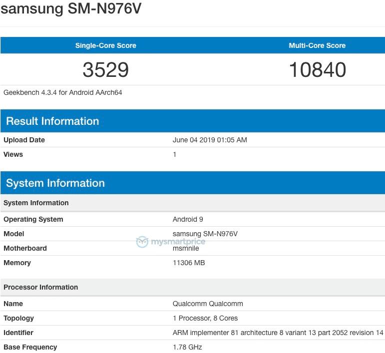 Samsung Galaxy Note 10 GeekBench Score Leaked Snapdragon 855 12GB RAM