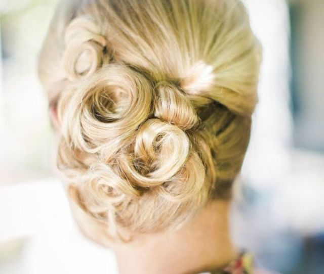 Large Soft Curls In A Side Updo For Bridal Hair Style The Pink Bride