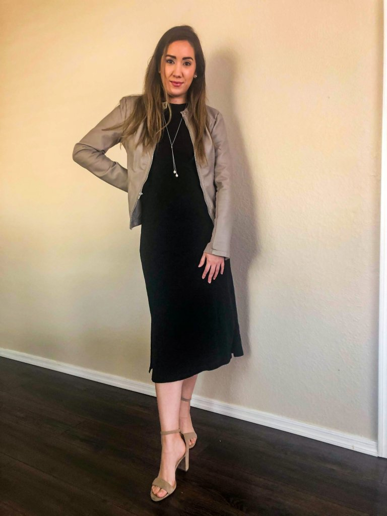 A more dressy option Black Dress with a Faux Leather Jacket and heel