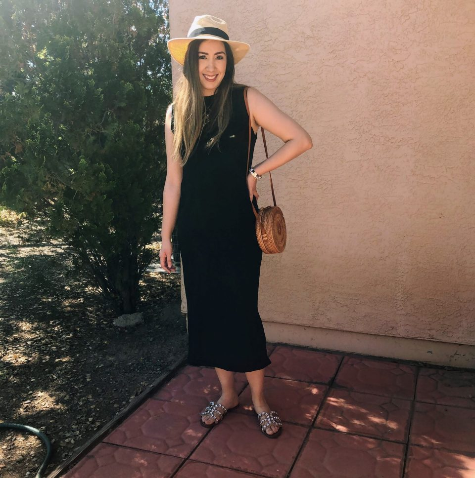 Casual style with black dress and sandals