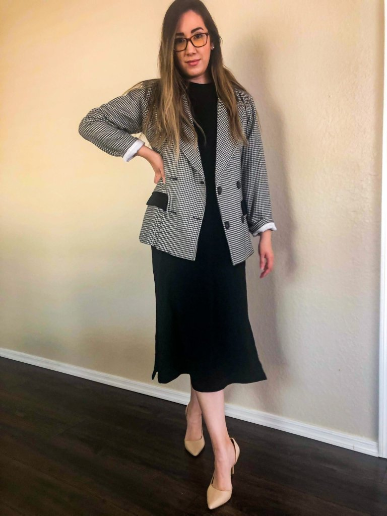 Black dress with a cute blazer for a profesional look