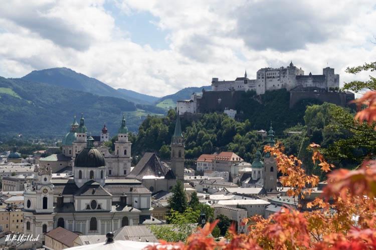 Ultimate Guide Salzburg View from Moenchsberg Orange Leaves