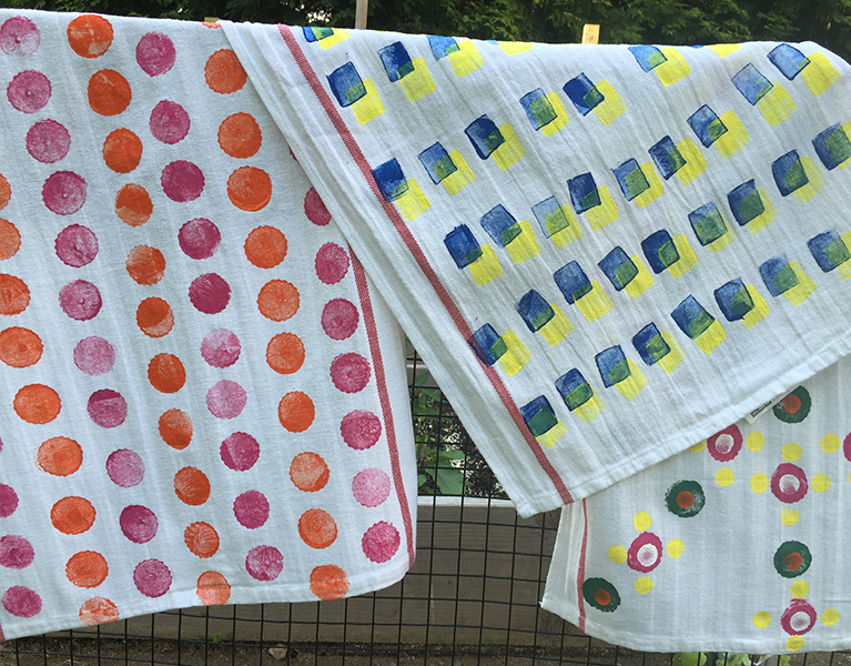 Towels printed with potato shapes.