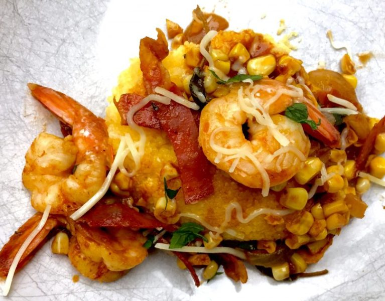 Polenta with shrimp.