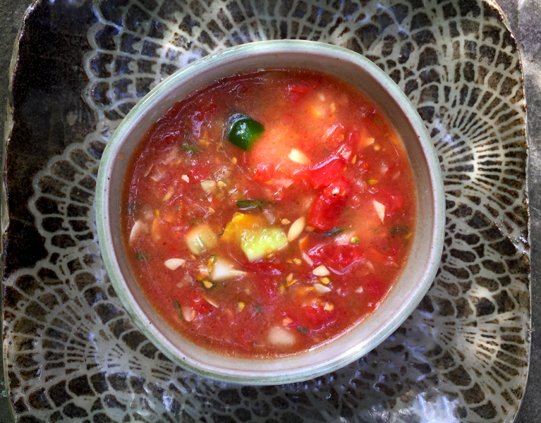 Gazpacho made with fresh Garden Vegetables