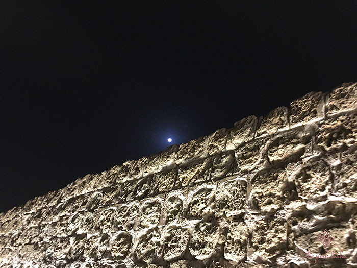 The moonlight shining over the ancient walls.