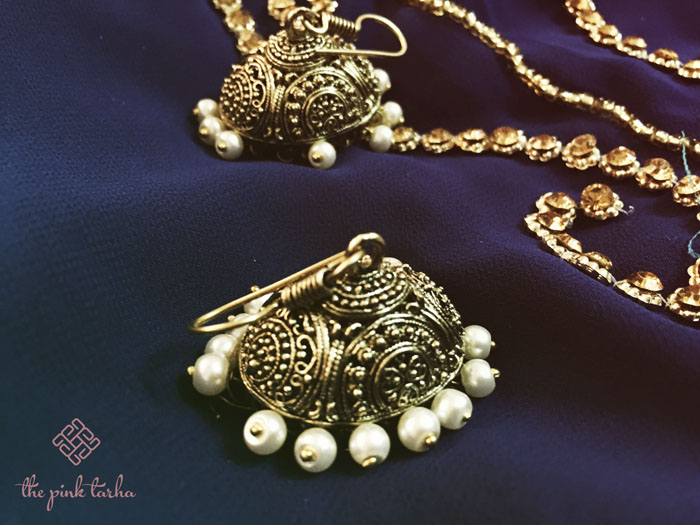 Jhumki Antique Ethnic Gold with White Pearl Beads, SR 60