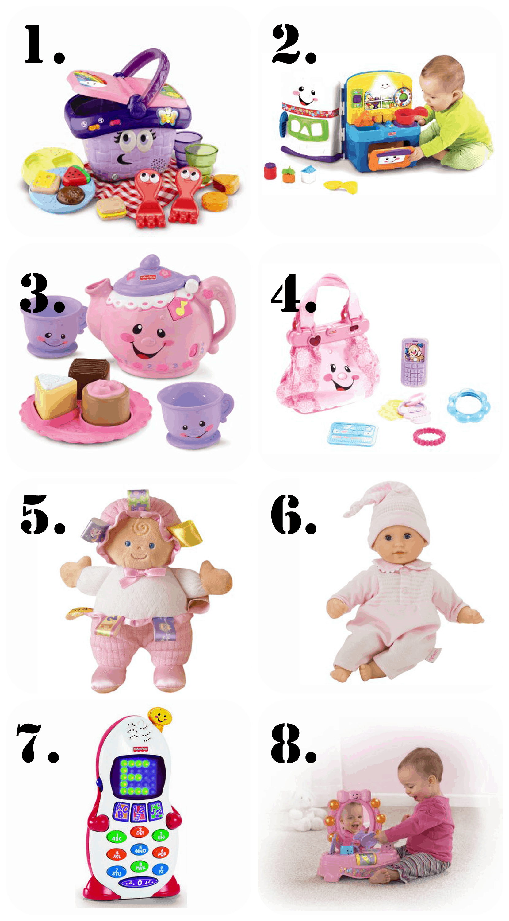 Dolls, tea sets, and other toys make the best gifts for 1 year old girl