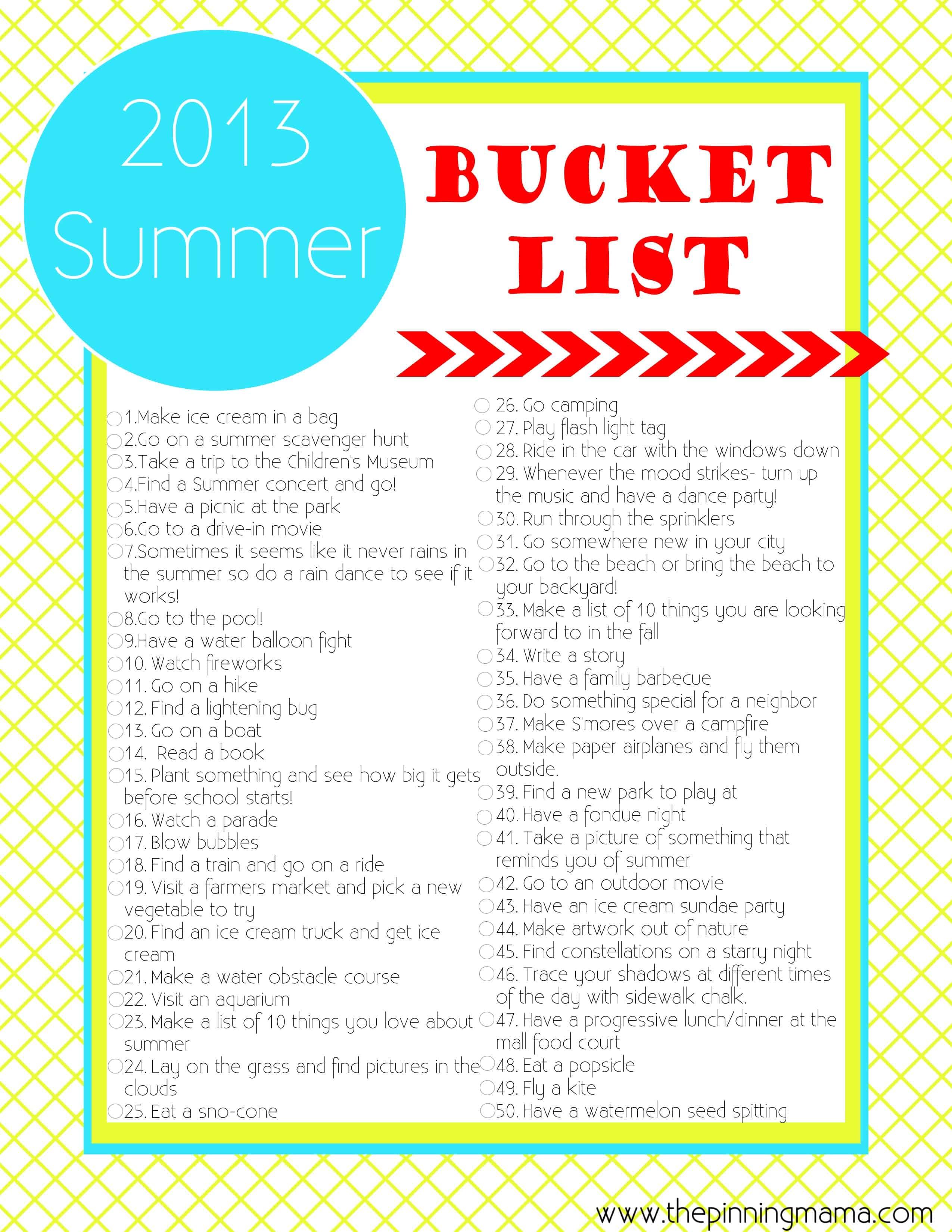 Summer Bucket List 50 Summer Ideas And Activities For