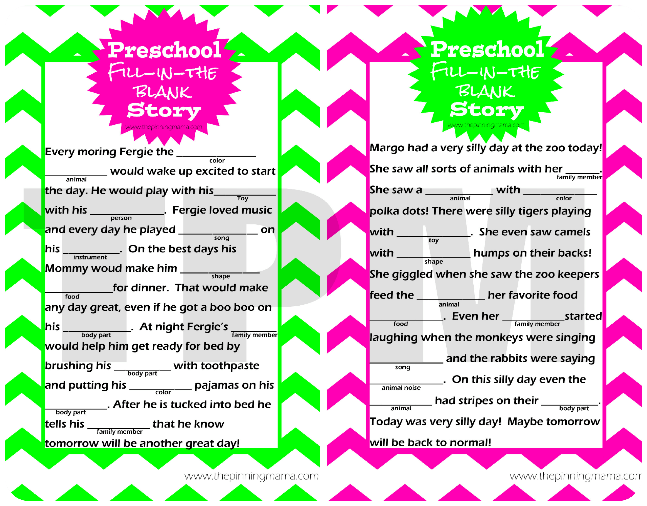 Fun Activities For Preschoolers Mad Libs Style Story For Preschoolers The Pinning Mama