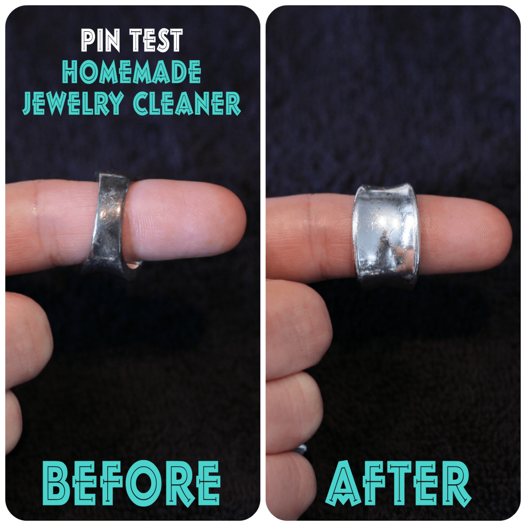 before and after homemade jewelry cleaner www.thepinningmama.com