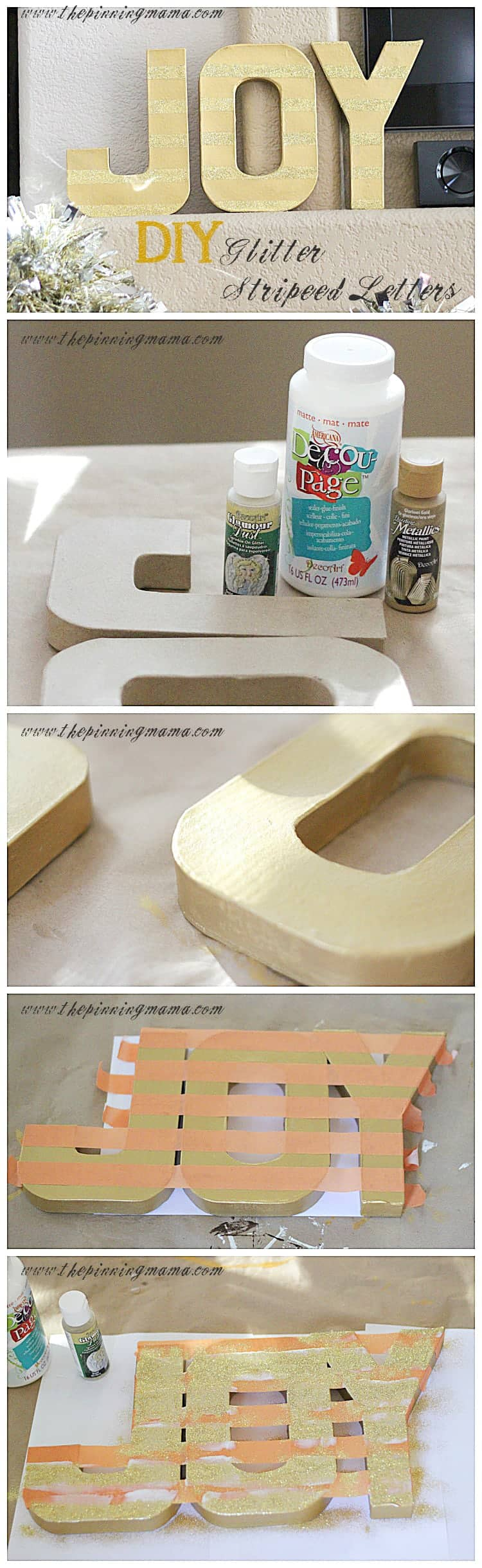 DIY Glitter Striped Joy Letters {Easy Christmas Decor} by www.thepinningmama.com