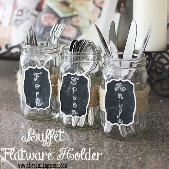 Mason Jar Silverware holder for buffet