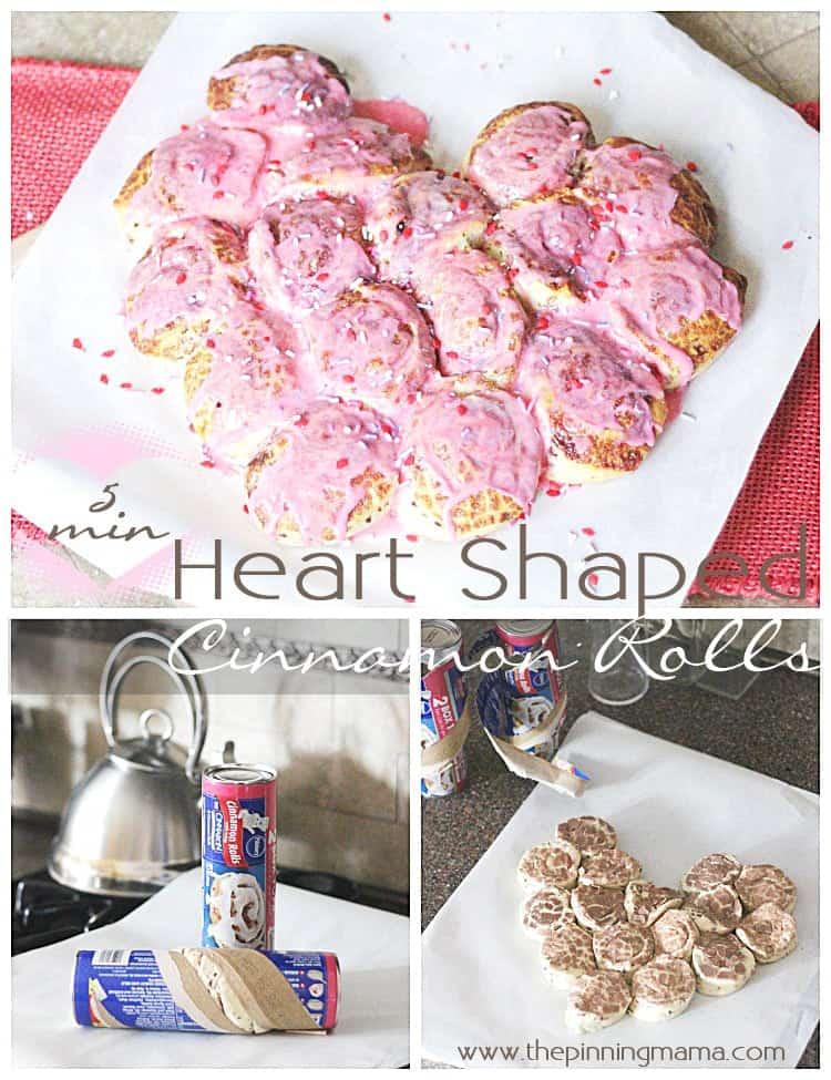 YUM! 5 minute easy Heart Cinnamon Rolls made with @Pillsburyideas cinnamon rolls!