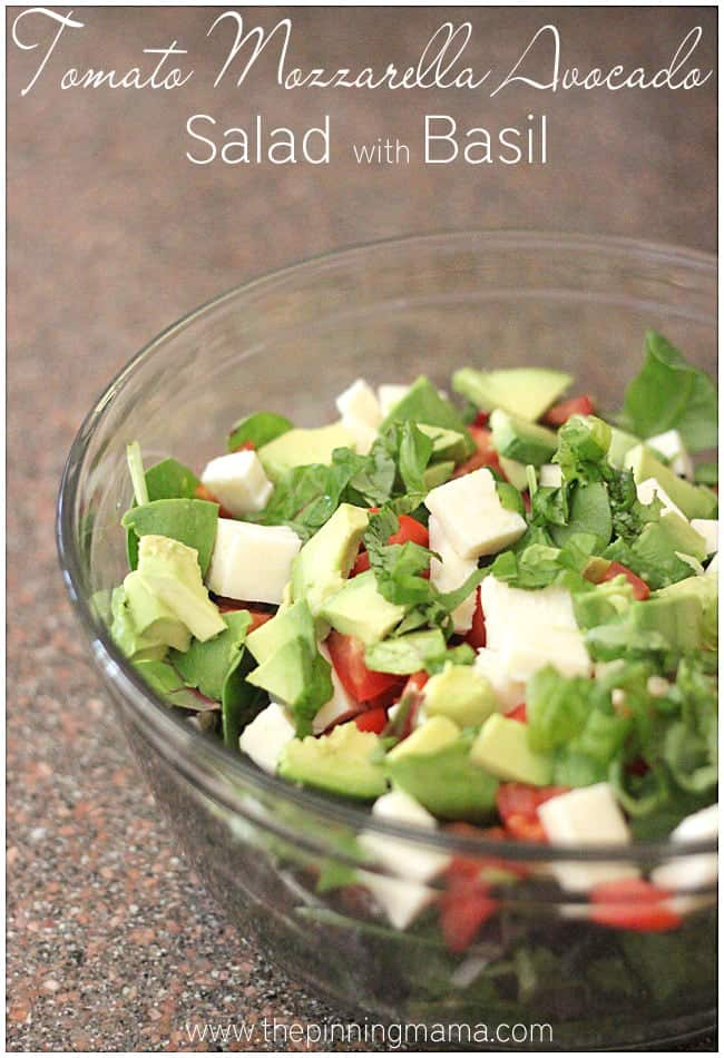 Tomato Mozzarella Avocado Salad with Basil. Such a refreshing salad for spring and summer!